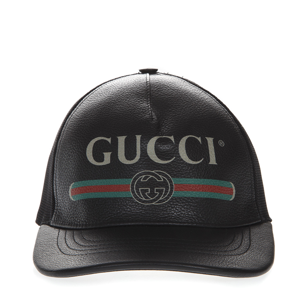 1147ce4dbf6ec BLACK BASEBALL LEATHER AND MESH HAT WITH LOGO FW 2018 - GUCCI - Boutique  Galiano