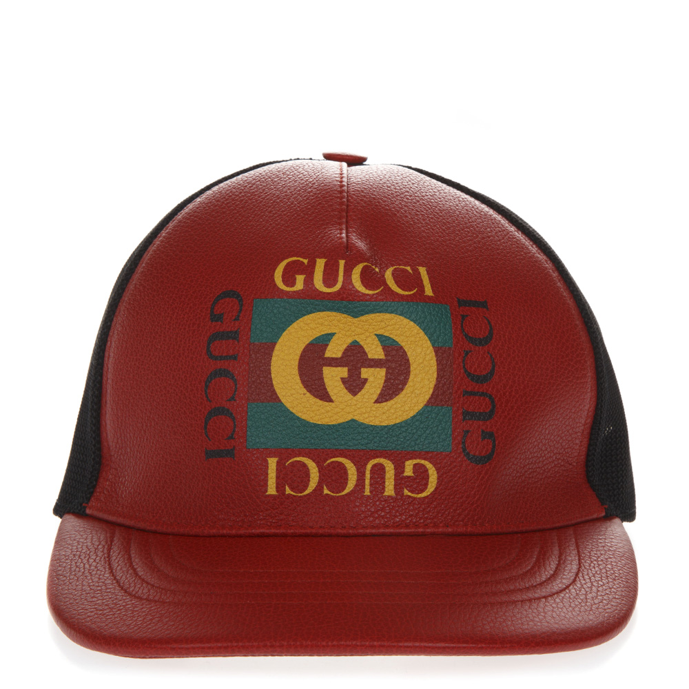 d8e643e58 RED AND BLACK BASEBALL LEATHER AND MESH HAT WITH LOGO FW 2018 - GUCCI -  Boutique Galiano