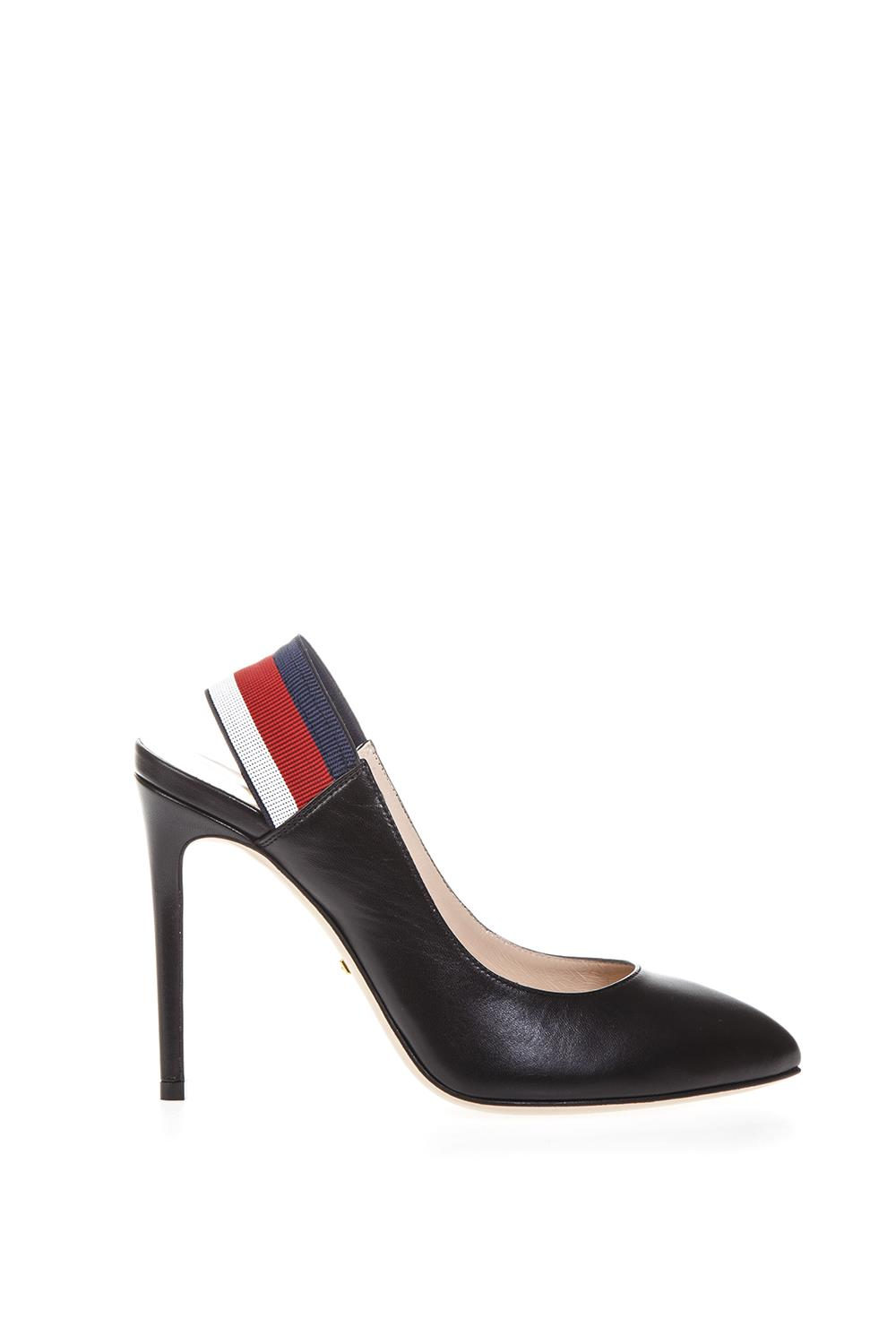 070425fa618 BLACK SYLVIE WEB PUMPS IN LEATHER FW 2018 - GUCCI - Boutique Galiano