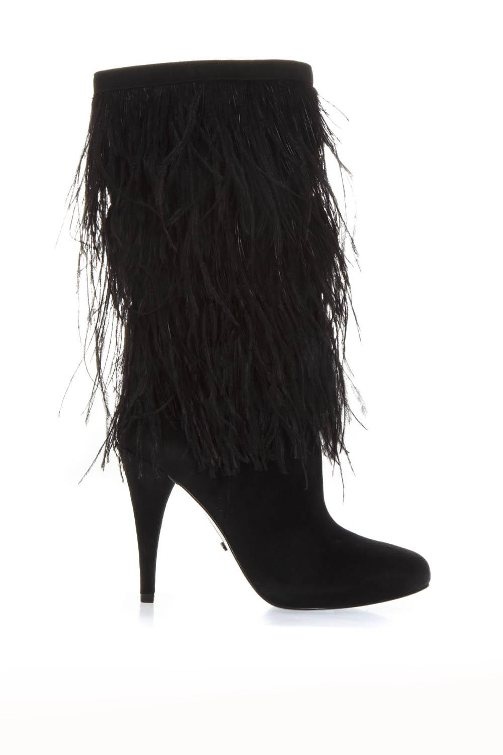 5f12c830cd8c BLACK SUEDE BOOTS WITH DECORATIVE FEATHERS APPLIED FW 2018 - MICHAEL  MICHAEL KORS - Boutique Galiano