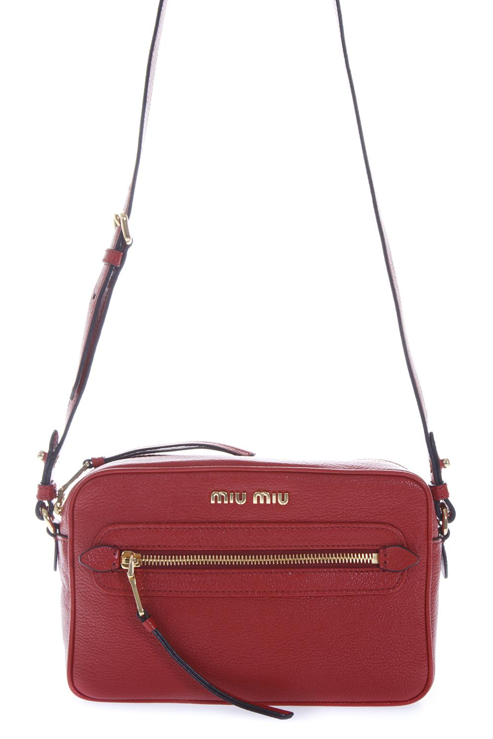 RED LEATHER CAMERA BAG FW 2018 - MIU MIU - Boutique Galiano ed8656611a4ed