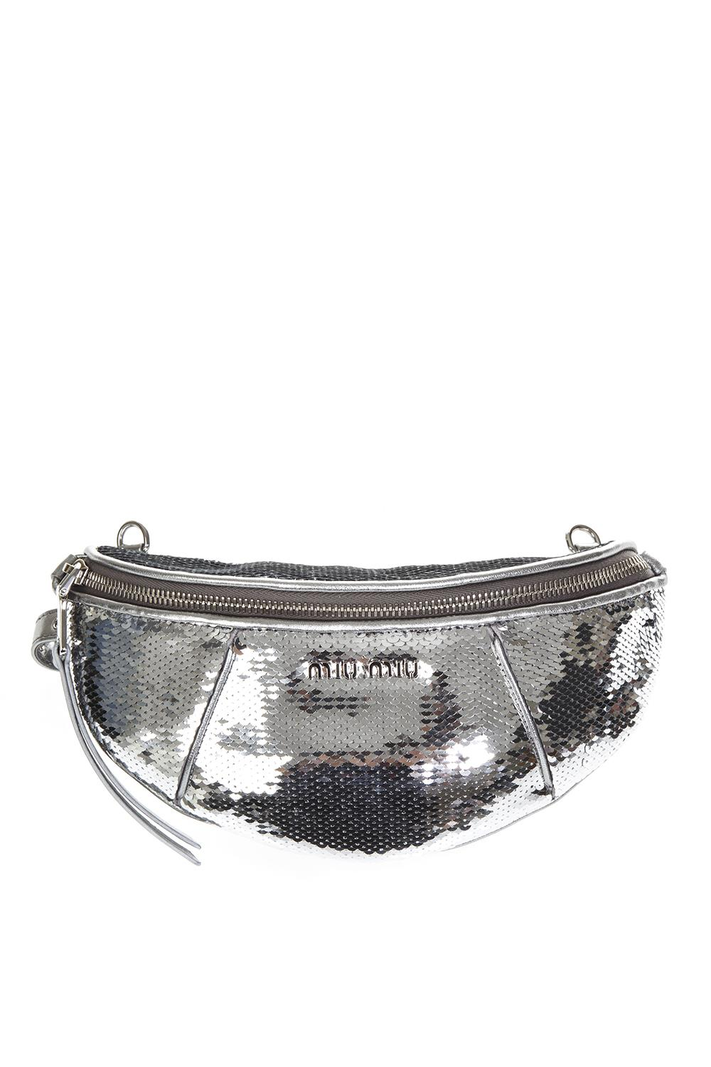 SILVER COLOR SEQUINED BELT BAG FW 2018 - MIU MIU - Boutique Galiano eec3eb83d32a2