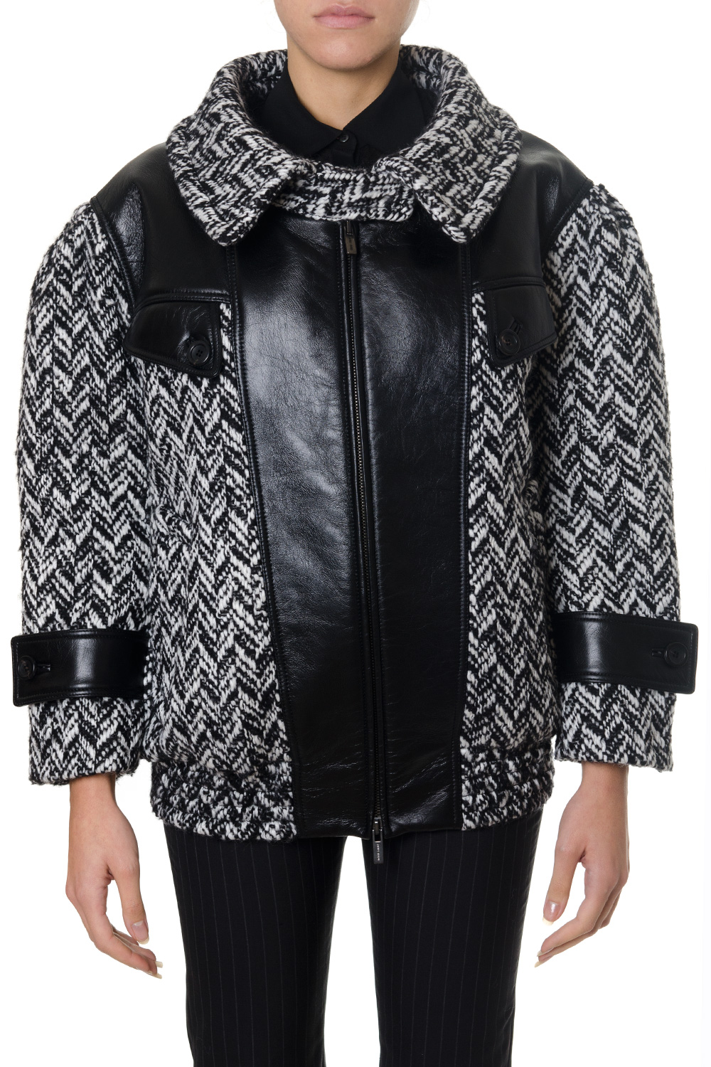 00d1ec1a3cb9 WOOL BLEND BOMBER JACKET WITH LEATHER INSERTS FW 2018 - MIU MIU - Boutique  Galiano