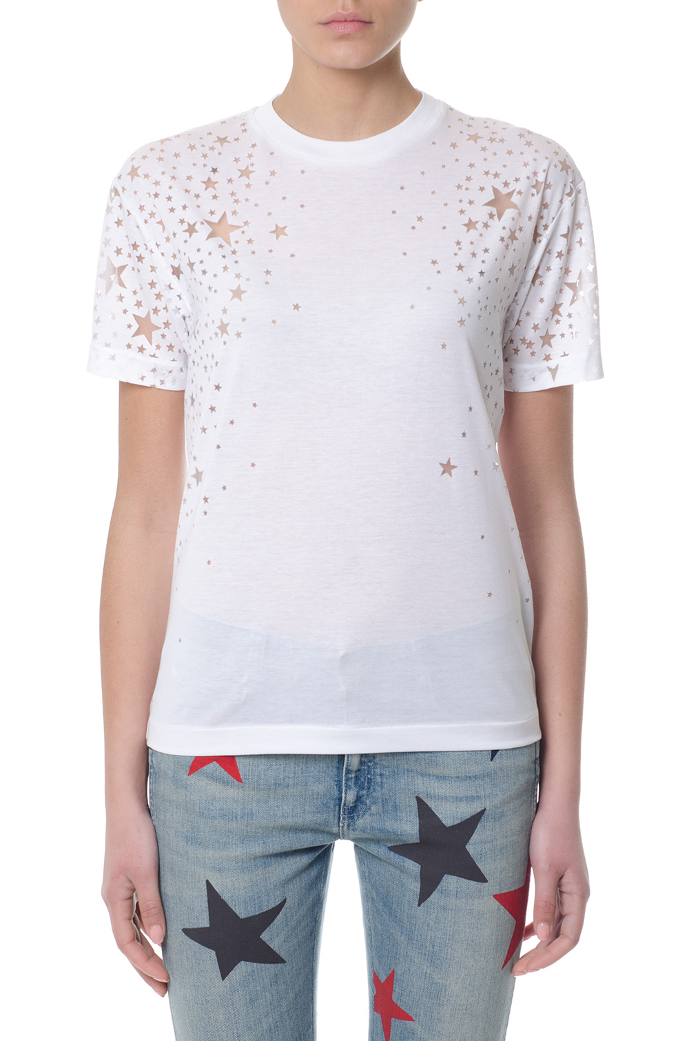 a8d5c877 WHITE STARS MOTIFS T-SHIRT FW 2018 - STELLA McCARTNEY - Boutique Galiano