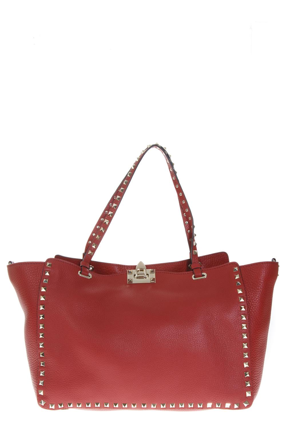 a38eb31c500 ROCKSTUD TRAPEZE RED LEATHER TOTE BAG FW 2018 - VALENTINO GARAVANI -  Boutique Galiano