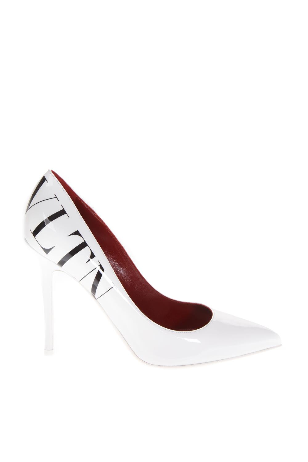 eb0163904ade WHITE LEATHER PUMPS WITH VLTN LOGO FW 2018 - VALENTINO GARAVANI - Boutique  Galiano