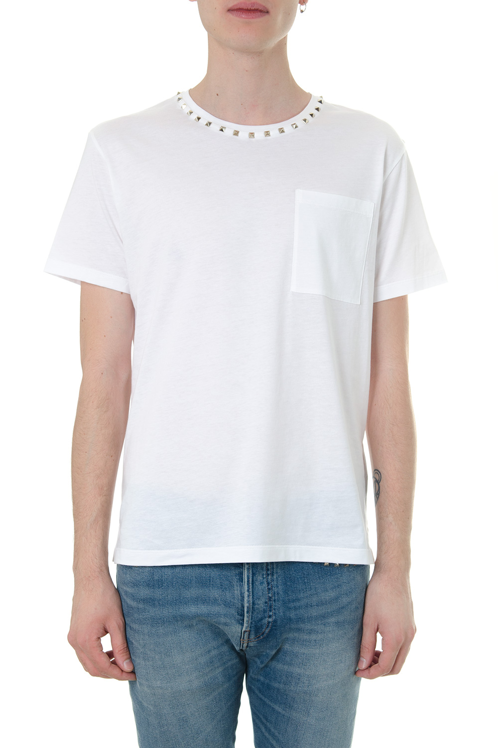 69868c913de4 WHITE COTTON T-SHIRT ROCKSTUD UNTITLED FW 2018 - VALENTINO - Boutique  Galiano