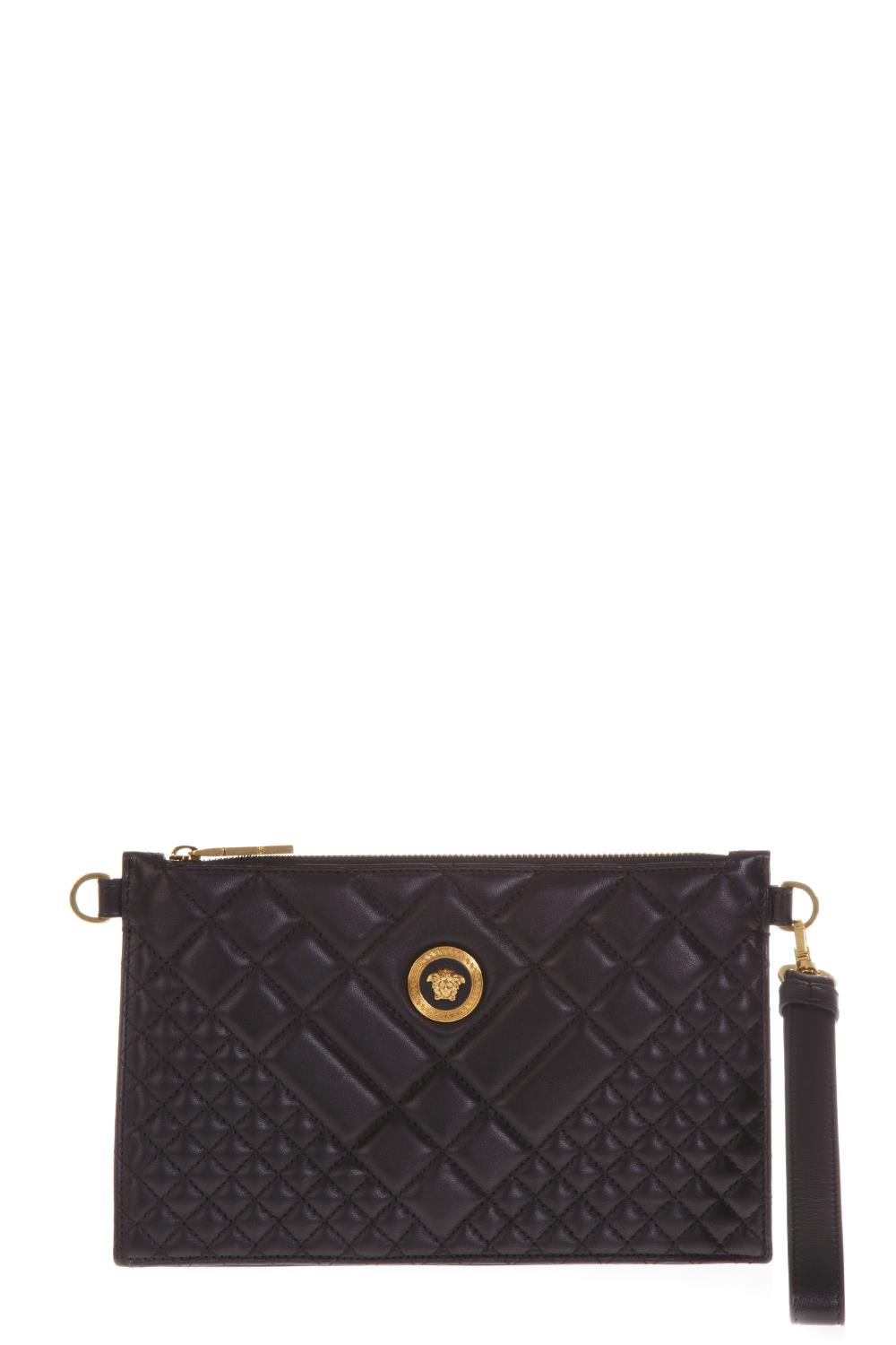 362f4a920ff8 BLACK QUILTED LEATHER CLUTCH WITH MEDUSA LOGO FW 2018 - VERSACE - Boutique  Galiano