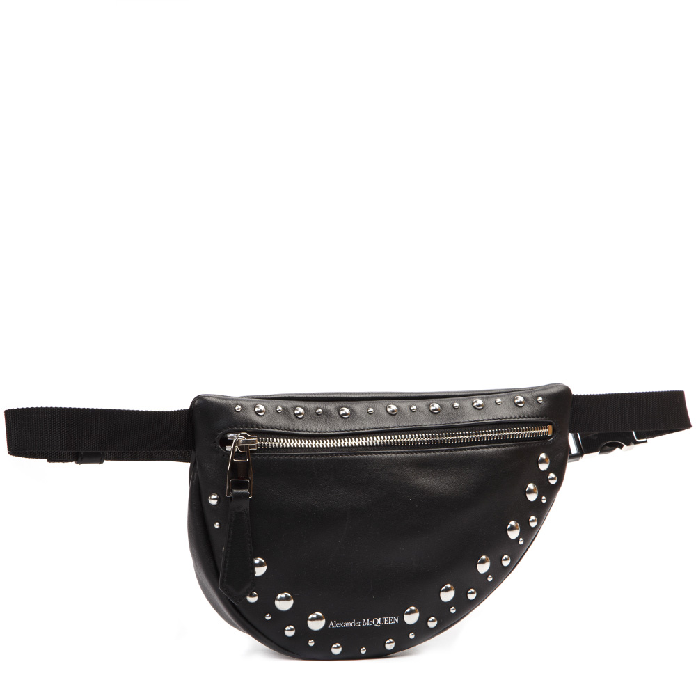 463e31b0 BLACK LEATHER STUDDED BELTBAG FW 2019 - ALEXANDER McQUEEN - Boutique ...