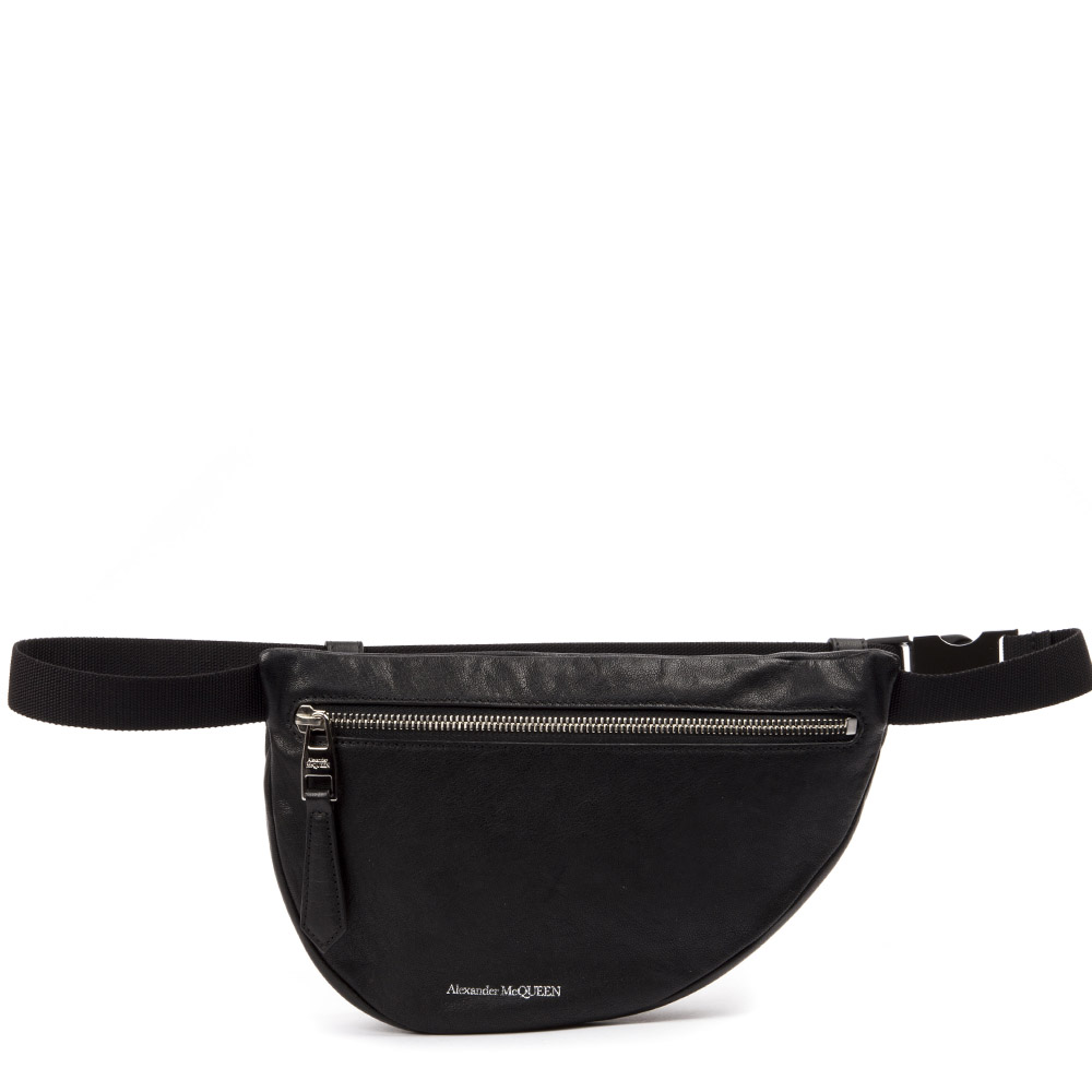 88150541 BLACK LEATHER LOGO BELT BAG FW 2019 - ALEXANDER McQUEEN - Boutique Galiano