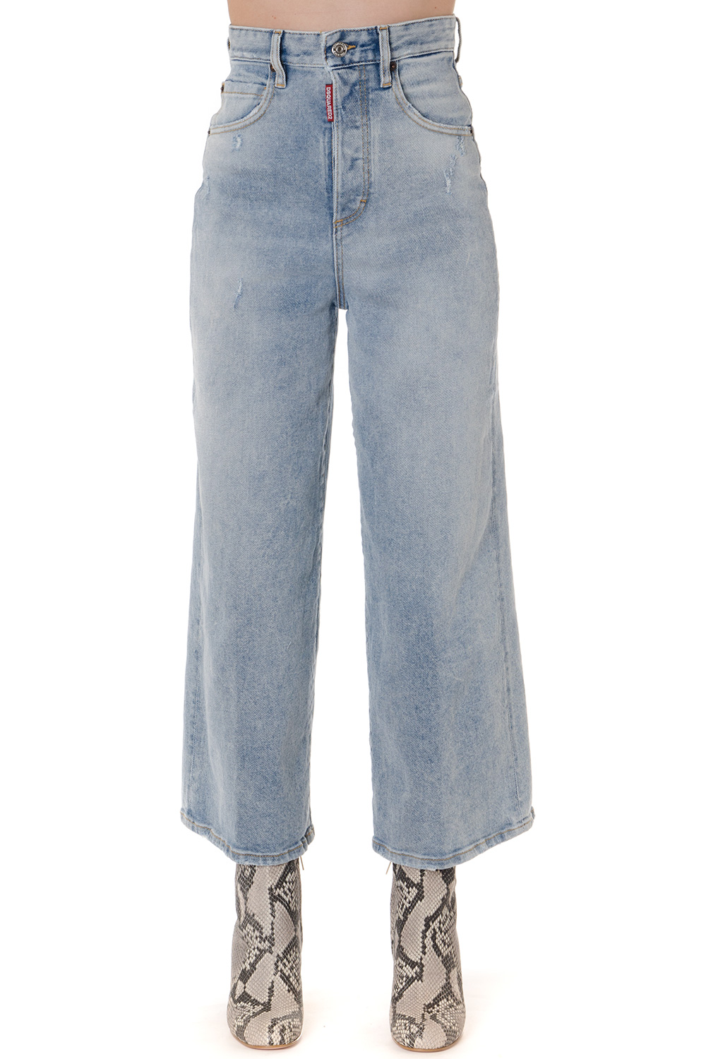 free shipping promo code great fit LIGHT BLUE HIGH WAIST WIDE LEG CROPPED JEANS FW 2019