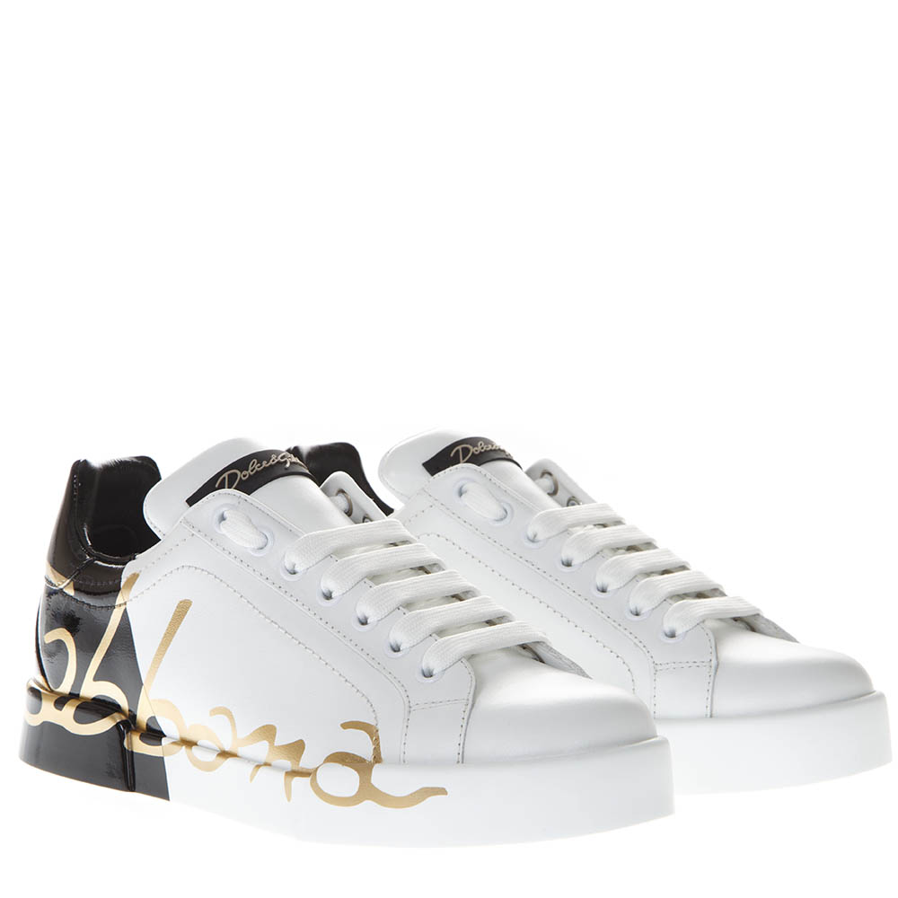 new style 62876 95f12 WHITE AND BLACK PORTOFINO SNEAKERS IN LEATHER FW 2019