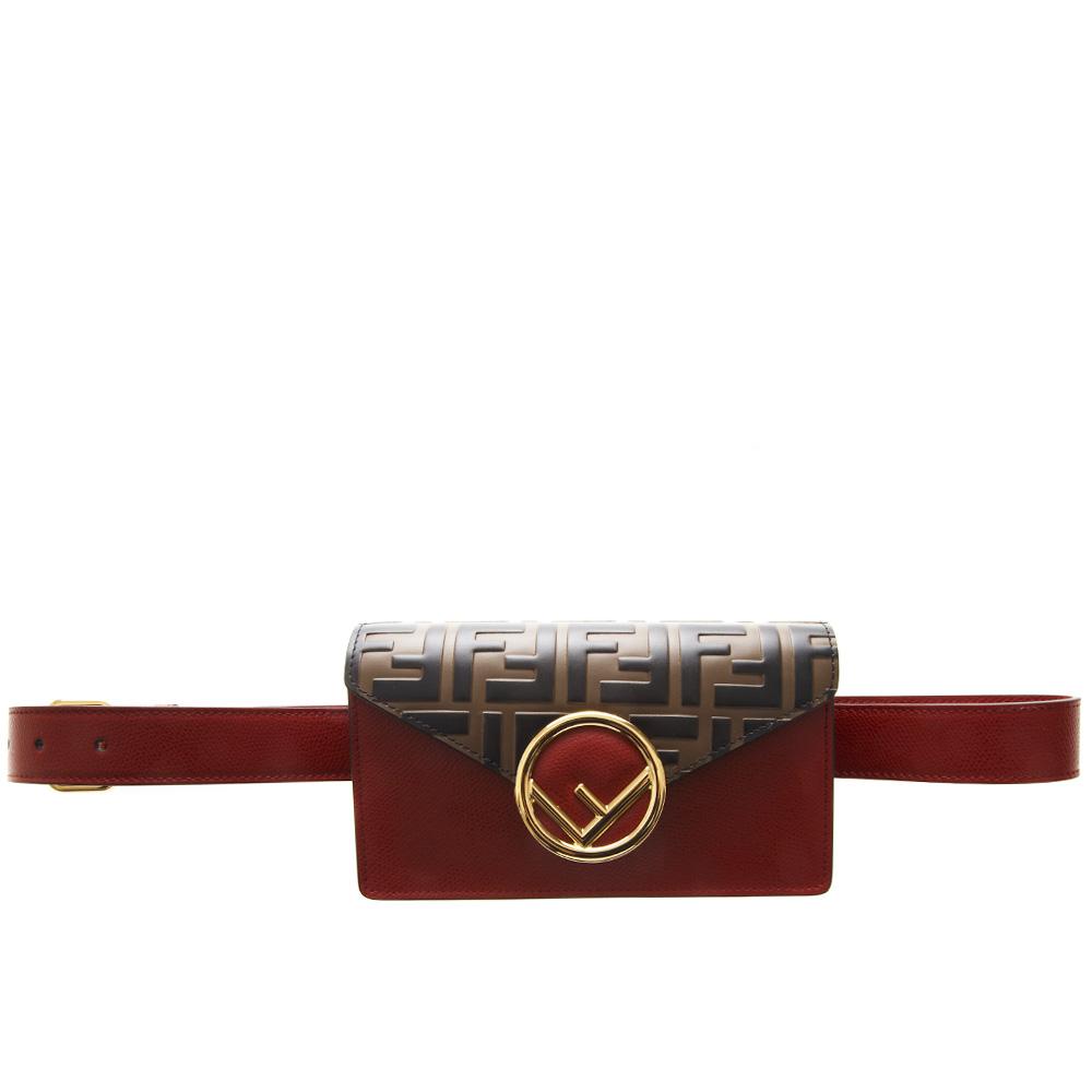 98c3659921afcd RED LEATHER BELT BAG WITH LOGO PRINT FW 2019 - FENDI ...