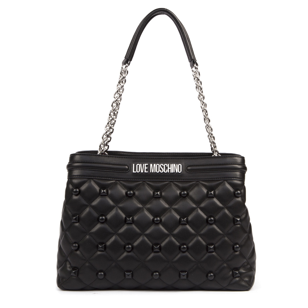 1e347188ea BORSA NERA IN ECOPELLE TRAPUNTATA CON BORCHIE AI 2019 - LOVE MOSCHINO -  Boutique Galiano