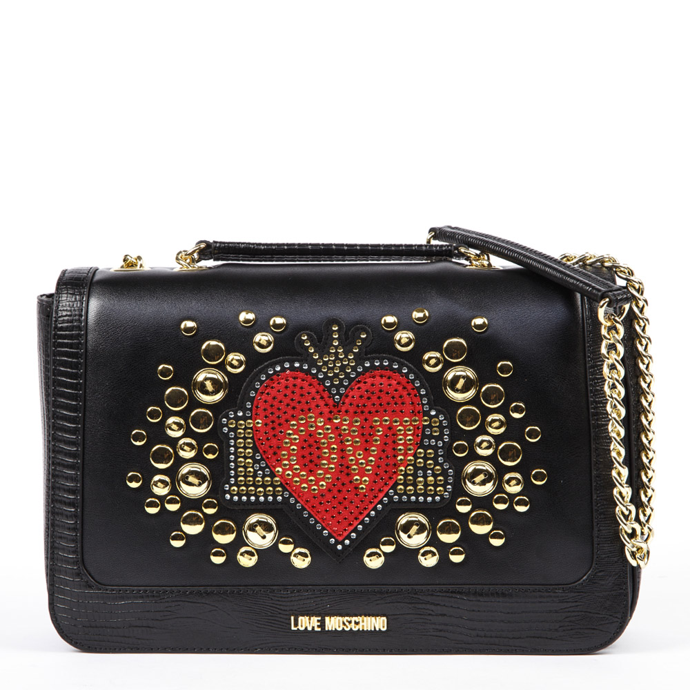 e4f57344f1 BORSA A SPALLA LOVE IN ECOPELLE NERA AI 2019 - LOVE MOSCHINO - Boutique  Galiano