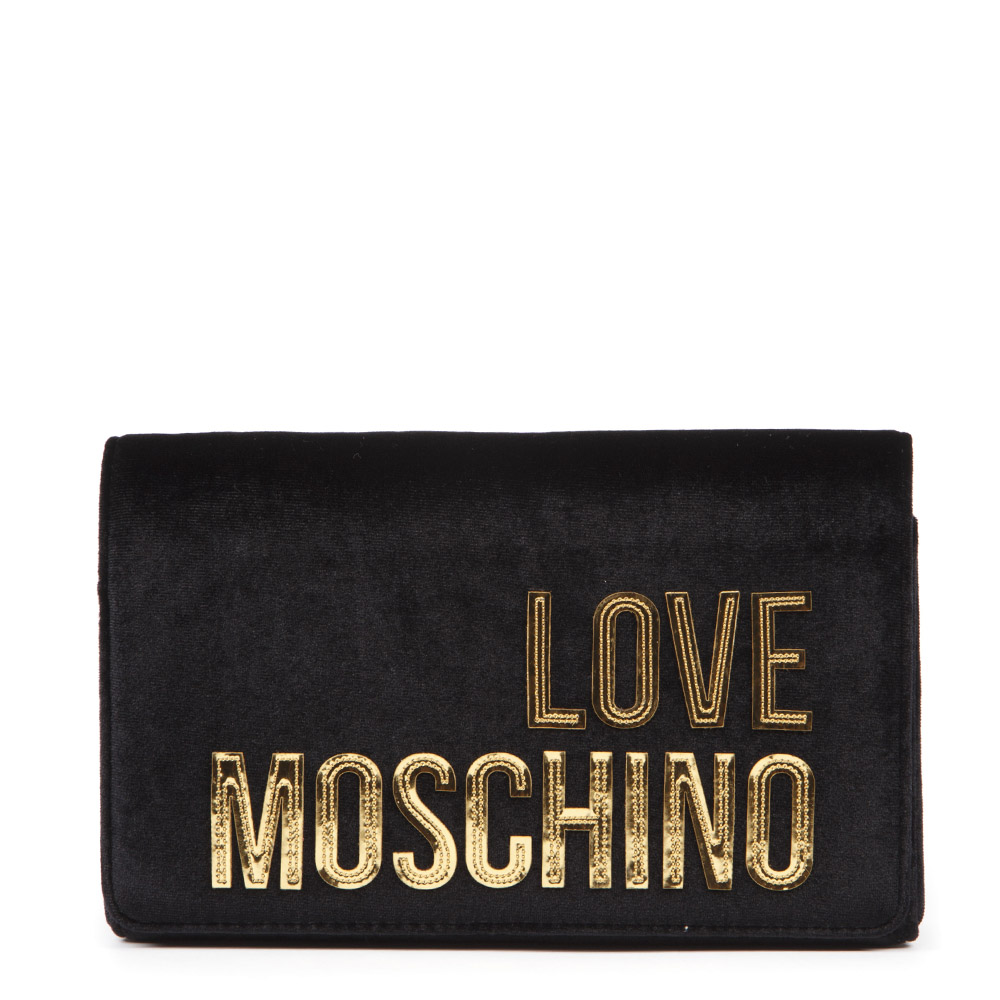 3dfe97b9a6 BLACK VELVET SHOULDER BAG WITH GOLD LOGO FW 2019 - LOVE MOSCHINO - Boutique  Galiano