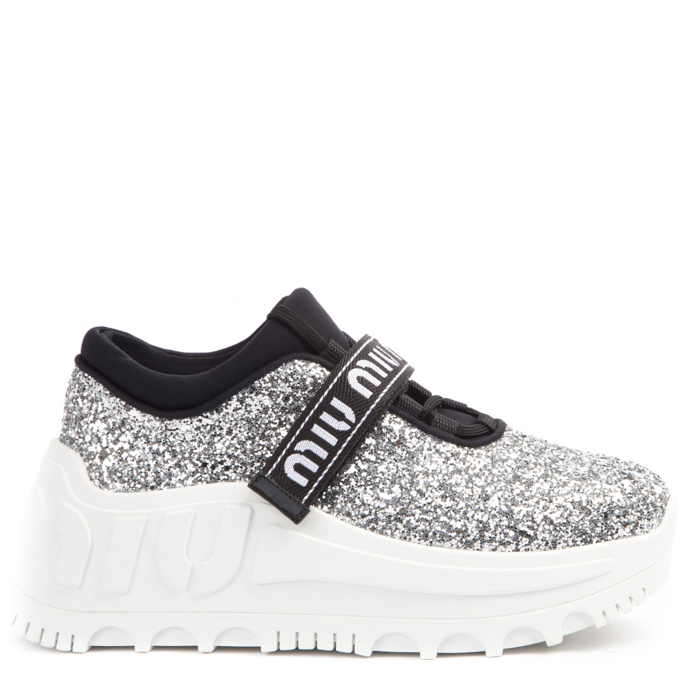 huge selection of e87b1 f2cfb SILVER GLITTER FABRIC LOGOED SNEAKERS FW 2019