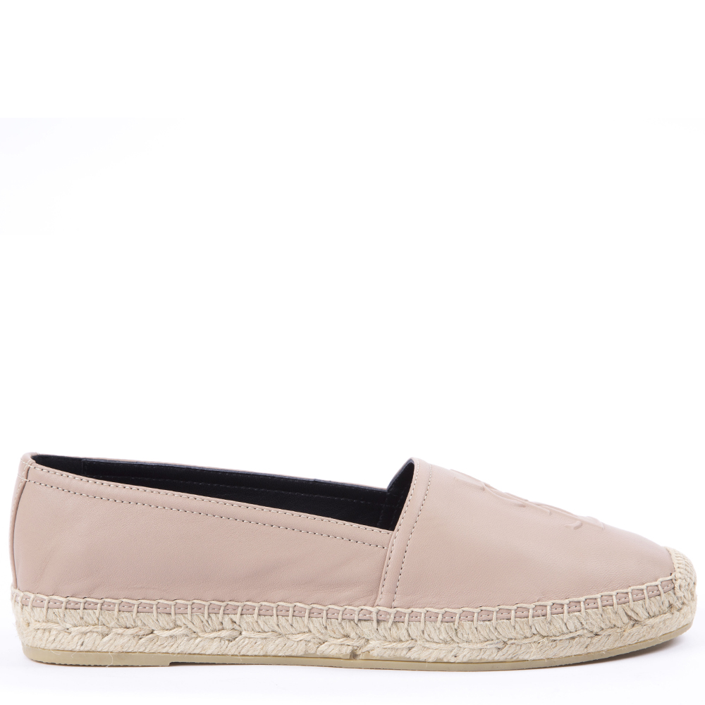 6f60c0ff0 NUDE LEATHER ESPADRILLES WITH EMBOSSED LOGO SS 2019 - SAINT LAURENT -  Boutique Galiano