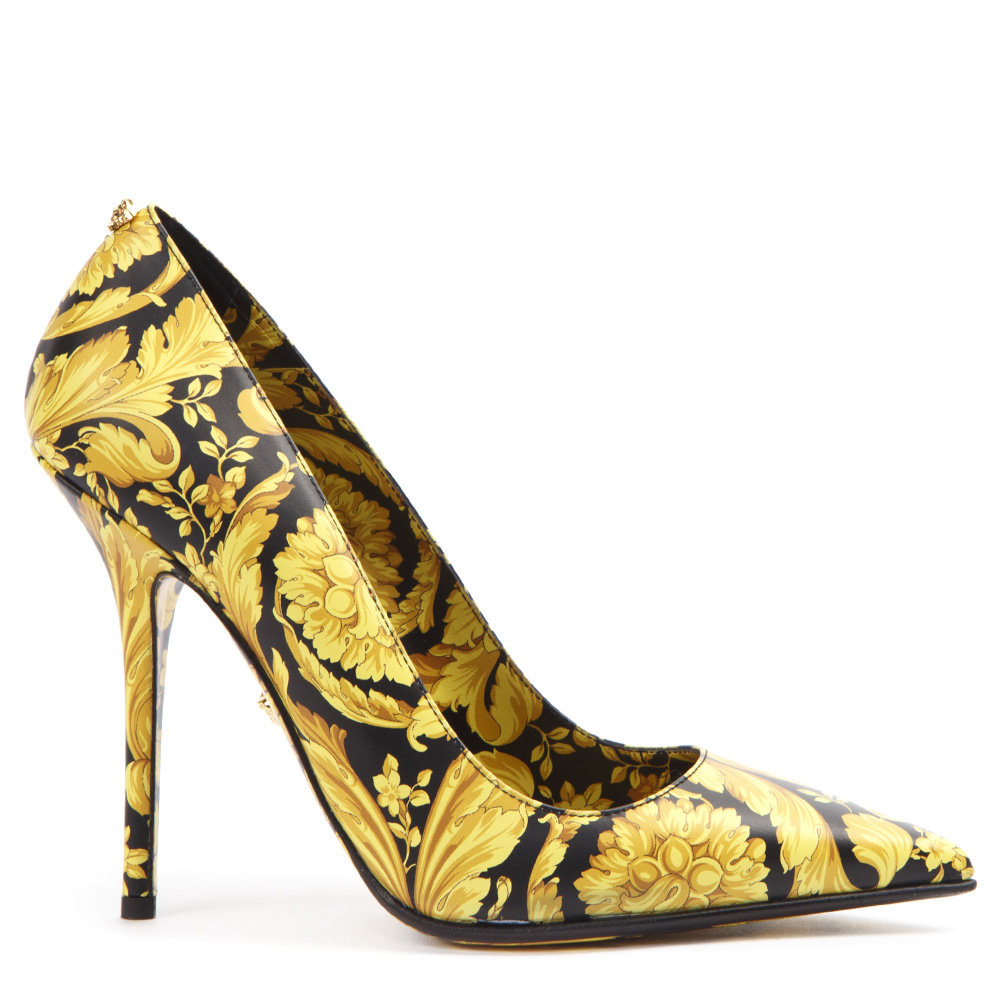 18ad3dff BLACK & GOLD LEATHER BAROQUE PUMPS FW 2019