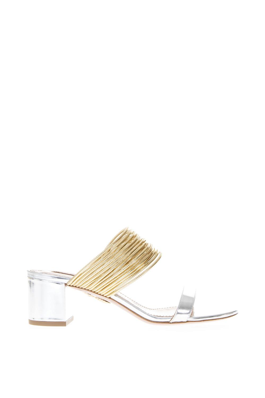 Best Authentic Aquazzura Silver Laminate Leather Block Heels Sandals Enjoy Cheap Online Free Shipping Outlet Footlocker Finishline Sale Online Un6Ie