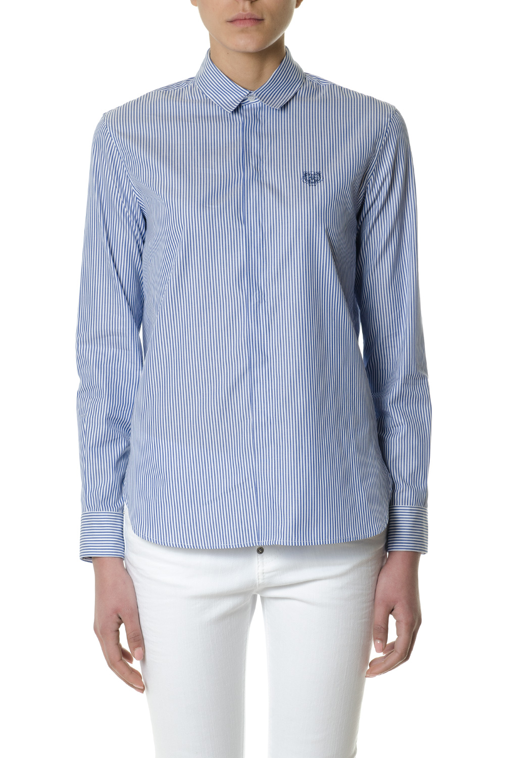 f3c4dc21a676 WHITE   BLU COTTON STRIPED SHIRT WITH TIGER CREST SS 2018 - KENZO - Boutique  Galiano