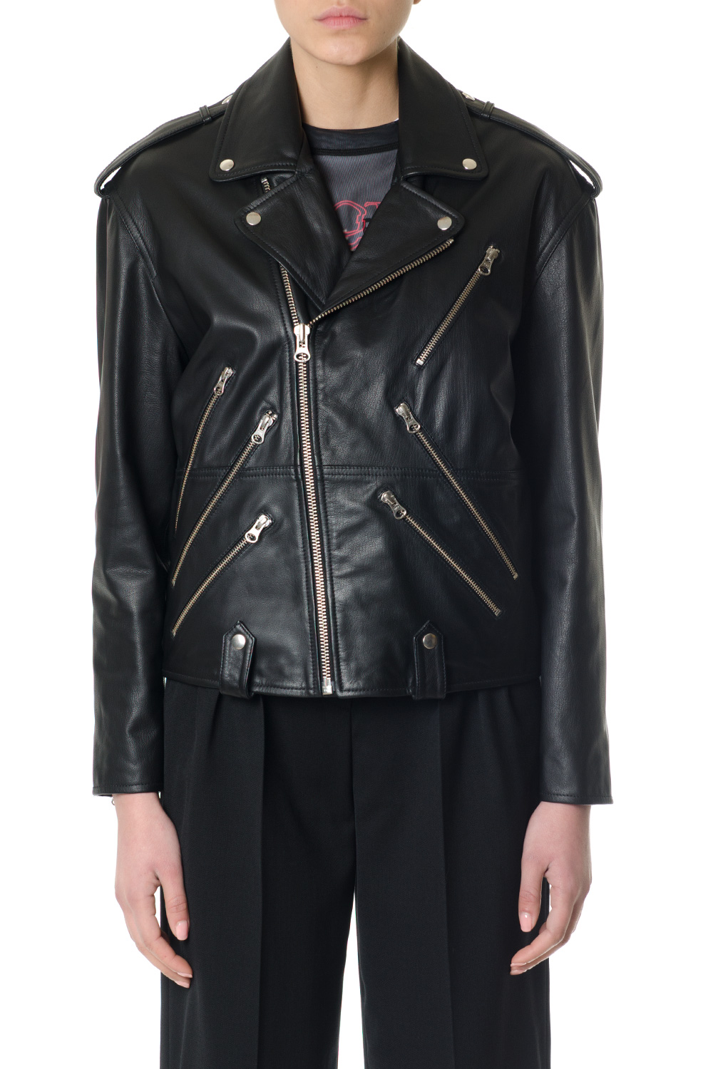 ZIPPED BLACK LEATHER BIKER JACKET ss 2018 - McQ ALEXANDER MCQUEEN -  Boutique Galiano f7c2bca211f
