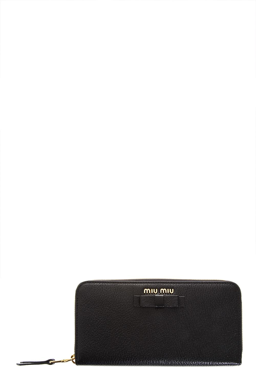 f2d8647c2be MADRAS LEATHER WALLET WITH BOW SS 2018 - MIU MIU - Boutique Galiano
