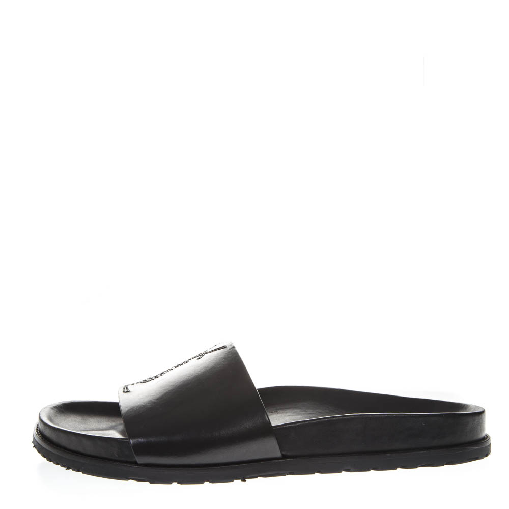 554a430901e3 BLACK LEATHER JIMMY SANDALS SS18 - SAINT LAURENT - Boutique Galiano