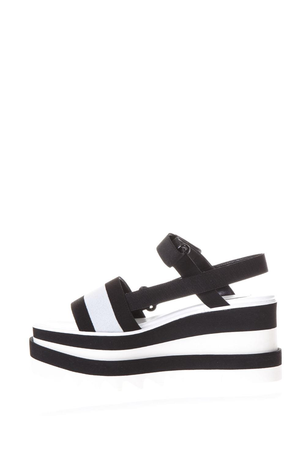 0132596697f Elyse black and white bands sandals SS2018 - STELLA McCARTNEY ...