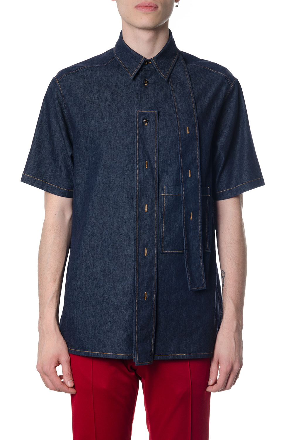 320327bc69da BLUE DENIM SHORT SLEEVES SHIRT SS 2018 - VALENTINO - Boutique Galiano
