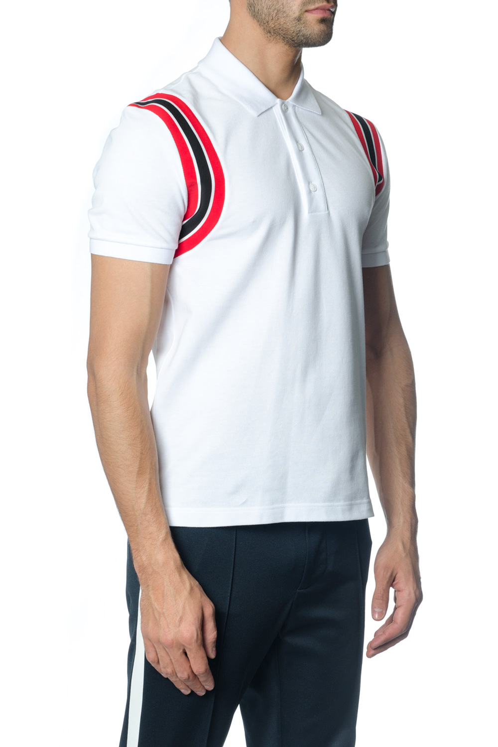 55bc4931a6d9 BLACK COTTON POLO SHIRT WITH CONTRASTING STRIPES. VALENTINO