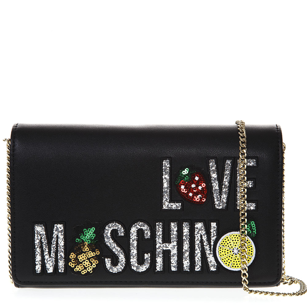 ab3eef5162 BLACK FAUX LEATHER SHOULDER BAG WITH LOGO SS 2019 - LOVE MOSCHINO -  Boutique Galiano