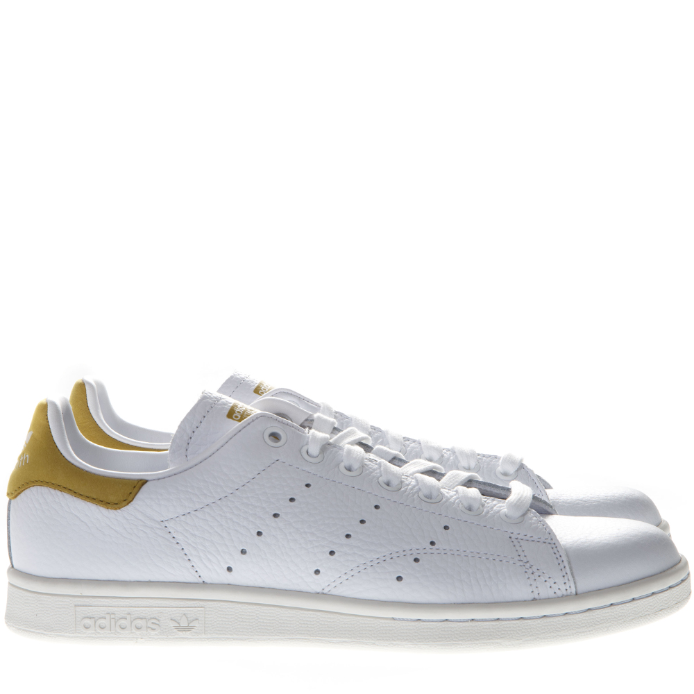 new product 96e90 c0b8f STAN SMITH WHITE LEATHER AND GOLD SUEDE SNEAKERS SS 2019