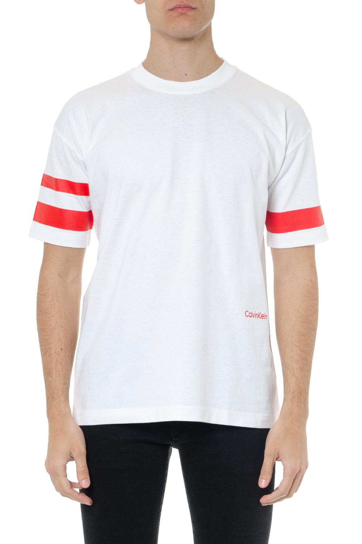 ea0aa9fea432 WHITE COTTON T SHIRT WITH RED STRIPES SS 2019 - CALVIN KLEIN - Boutique  Galiano