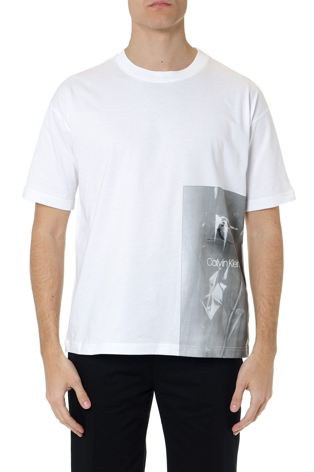 8c8ad44f WHITE COTTON T-SHIRT WITH GRAPHIC PRINT SS 2019 - CALVIN KLEIN - Boutique  Galiano