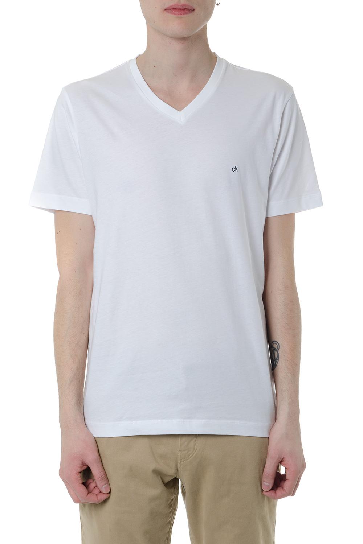 d70a8f7f8c83 V NECKLINE WHITE COTTON T-SHIRT SS 2019 - CALVIN KLEIN - Boutique Galiano