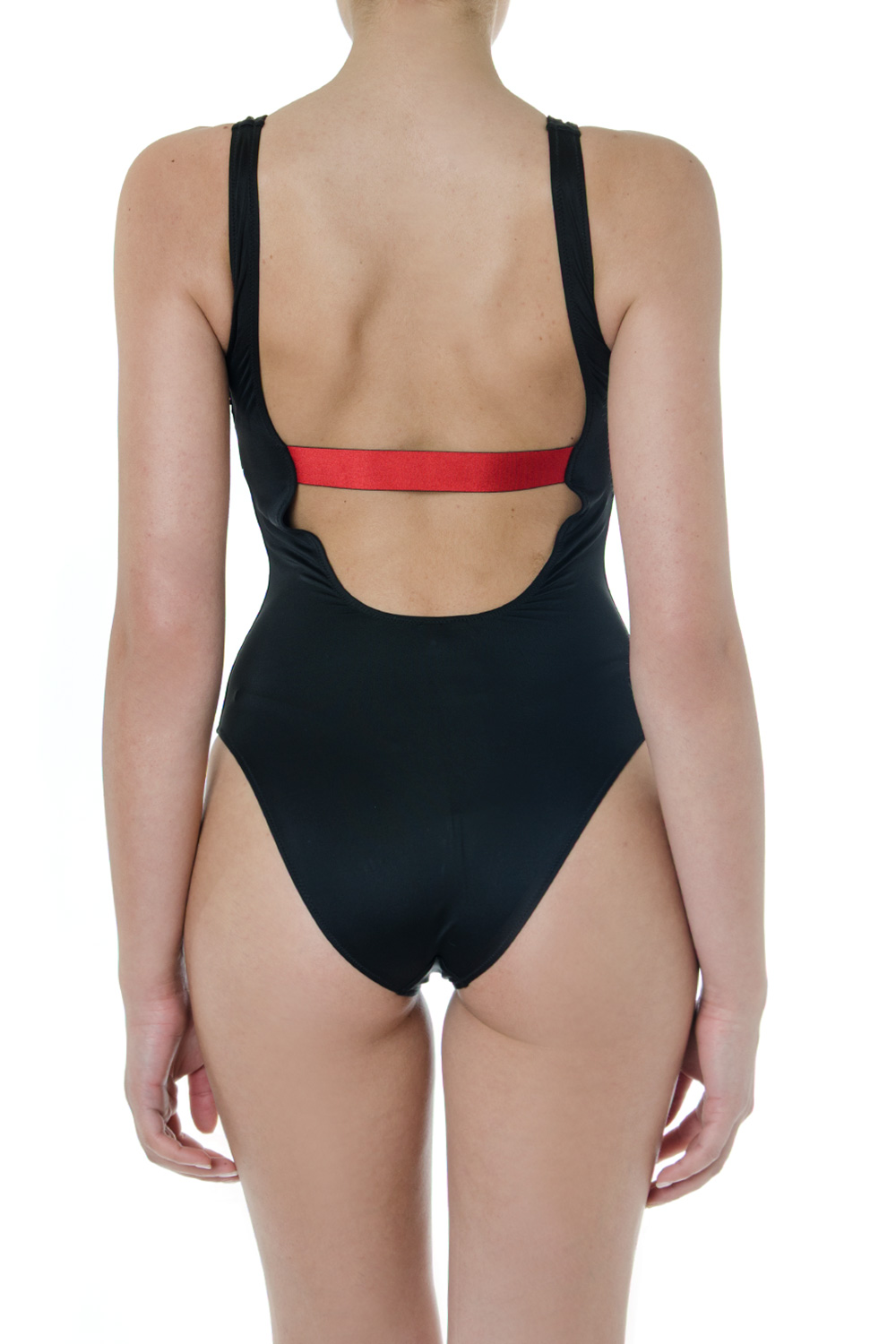 0f82261d60 BLACK AND RED CUT OUT LOGO SWIMSUIT SS 2019 - CALVIN KLEIN ...