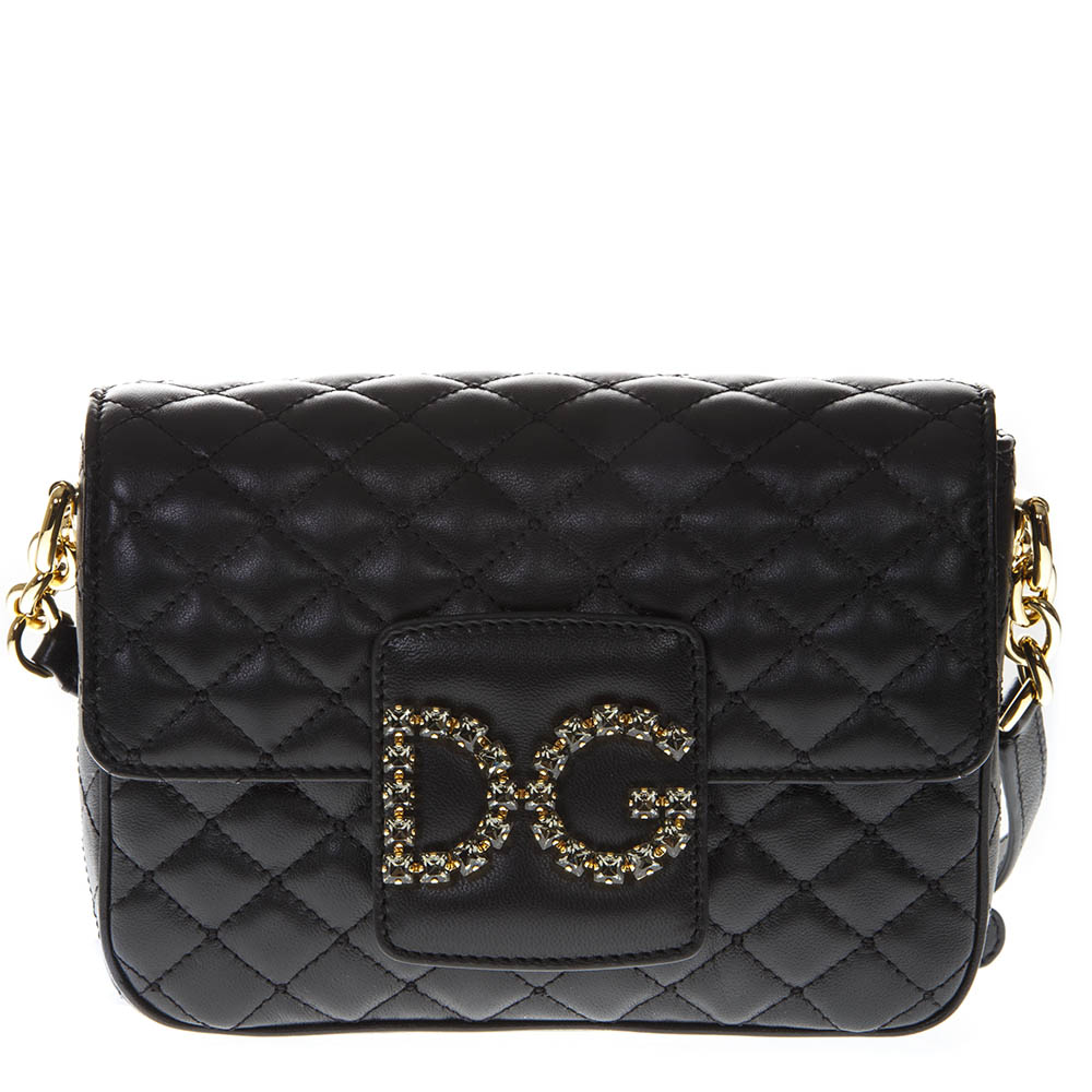 60fd1e8834 DG MILLENNIALS BLACK QUILTED LEATHER SHOULDER BAG SS 2019 - DOLCE   GABBANA  - Boutique Galiano