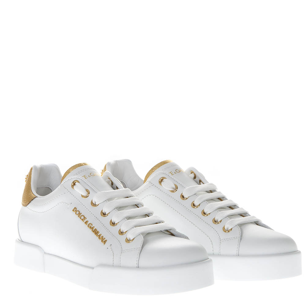 a36567fdb482 WHITE LEATHER SNEAKERS WITH DOLCE   GABBANA LETTERING SS 2019 - DOLCE    GABBANA - Boutique Galiano