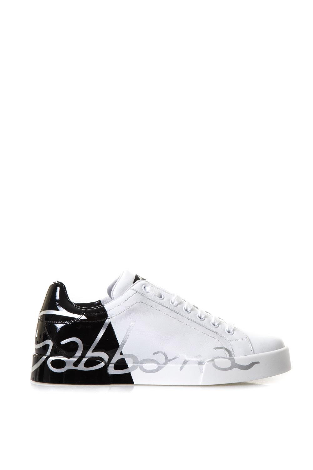 e7337cfe5be6 WHITE   BLACK LEATHER LOGO SNEAKERS FW 2018 - DOLCE   GABBANA - Boutique  Galiano