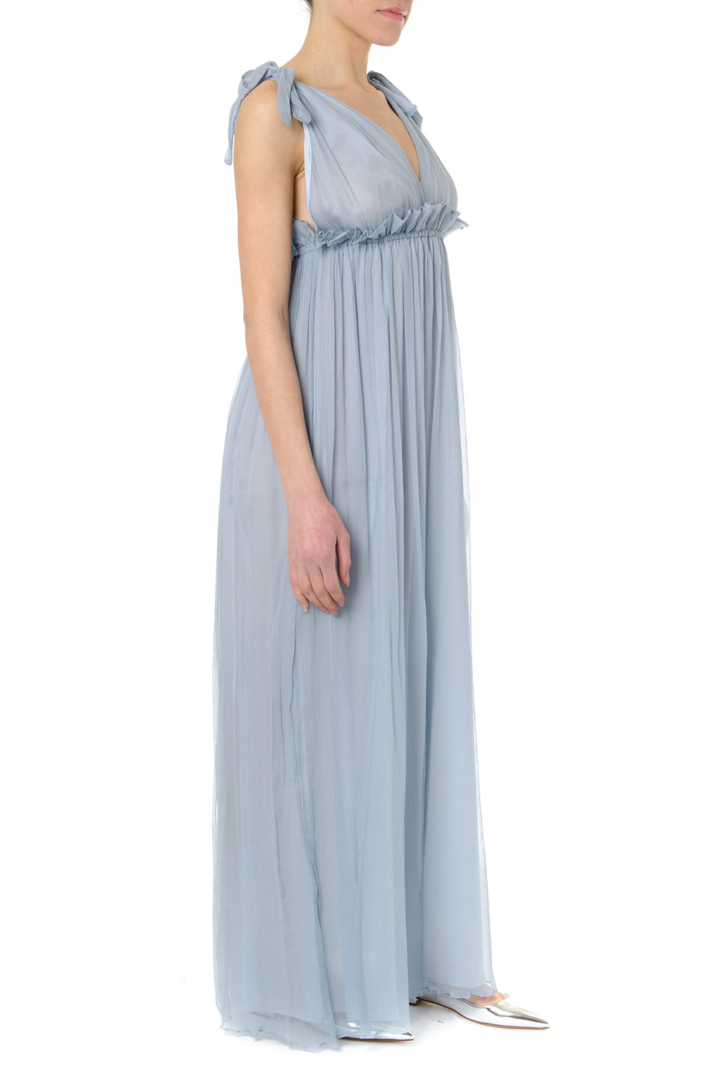 f8636d09b4e LIGHT BLUE LONG SILK DRESS SS 2019 - DONDUP - Boutique ...