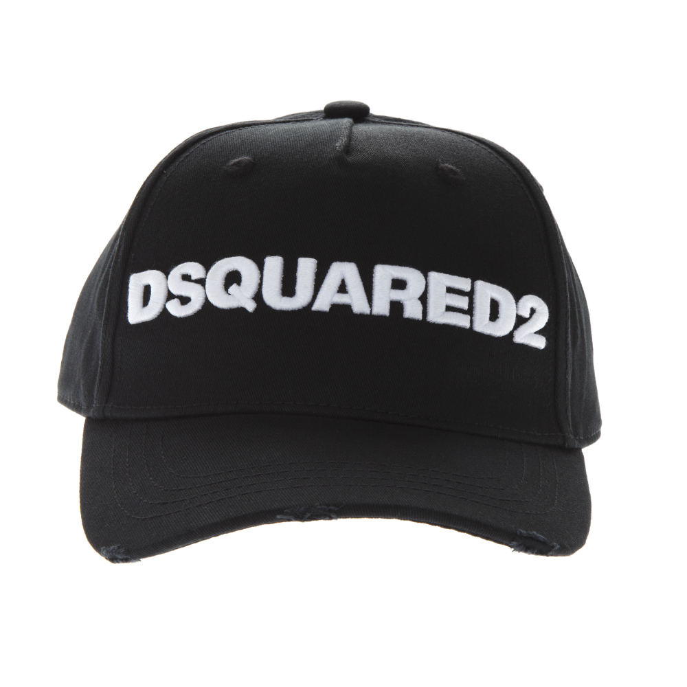 2238e802c0da66 BLACK COTTON BASEBALL LOGO HAT SS19 - DSQUARED2 - Boutique Galiano