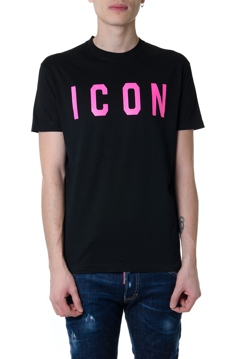 6b6b5f4fa86563 BLACK COTTON T-SHIRT WITH PINK ICON WRITTEN SS 2019 - DSQUARED2 - Boutique  Galiano