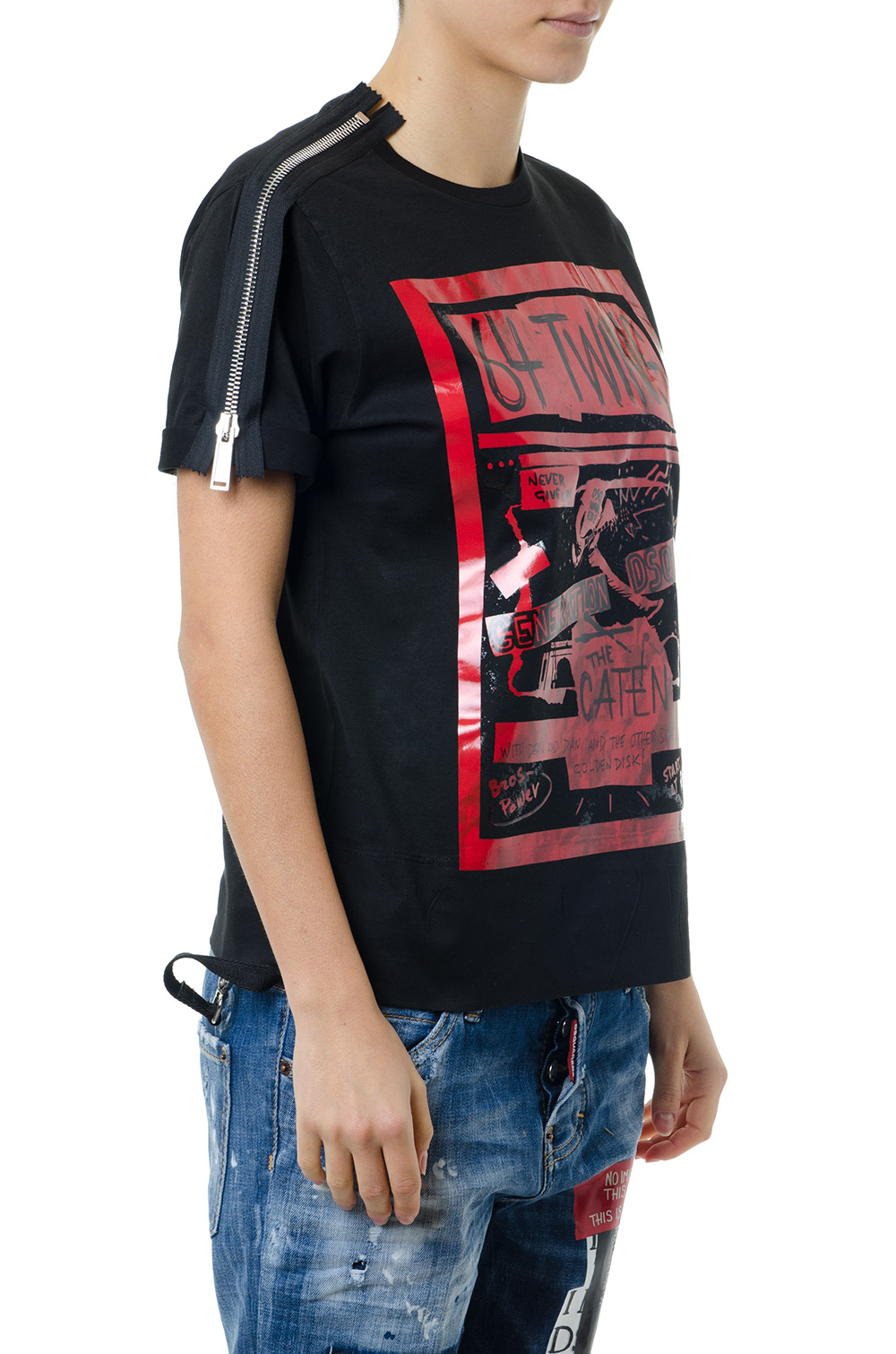 22153996e92 64 TWINS T SHIRT IN BLACK COTTON SS 2019 - DSQUARED2 ...