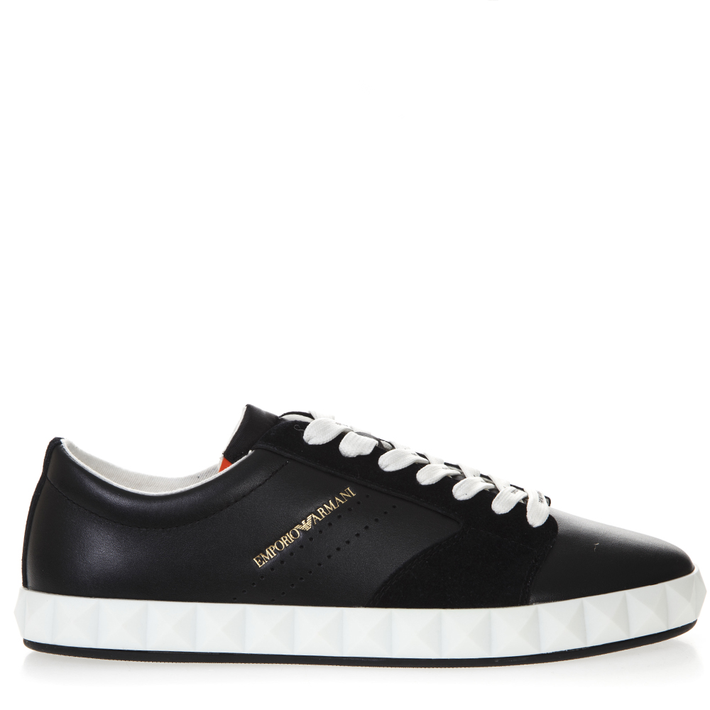 3f97f12883 NAVY BLUE SNEAKERS IN SMOOTH AND SUEDED LEATHER SS 2019 - EMPORIO ARMANI -  Boutique Galiano