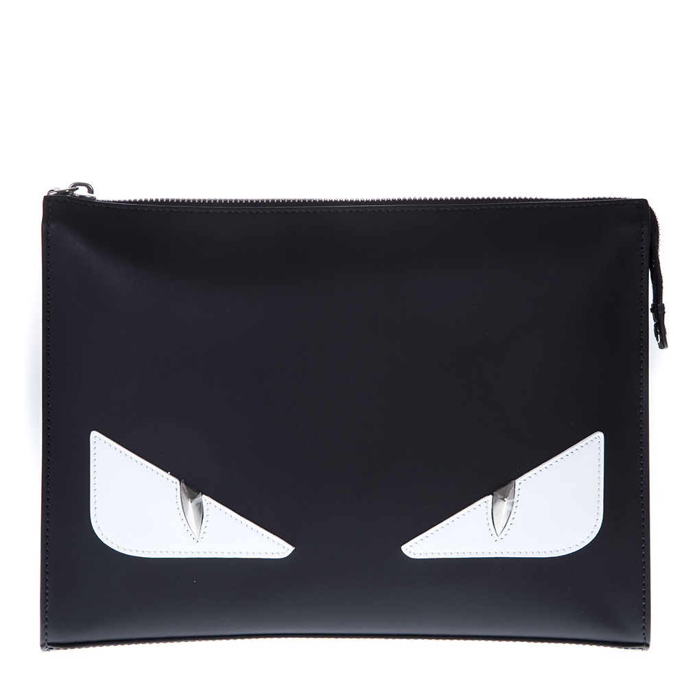 BAG BUGS BLACK LEATHER CLUTCH SS 2019 - FENDI - Boutique Galiano b1b34c3abd0d8