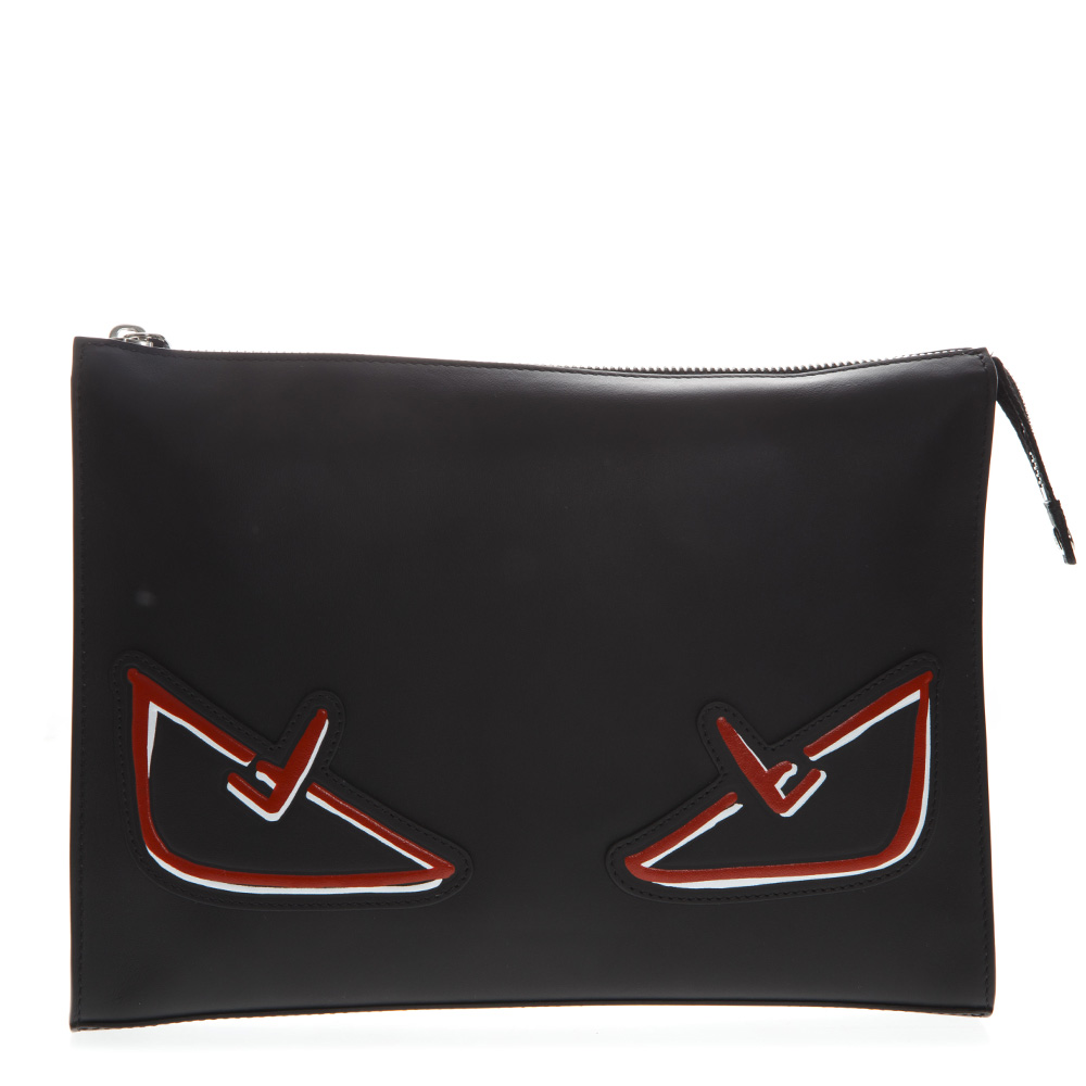 822159386711 BLACK AND RED CLUTCH BAG BUGS IN LEATHER SS 2019 - FENDI - Boutique Galiano