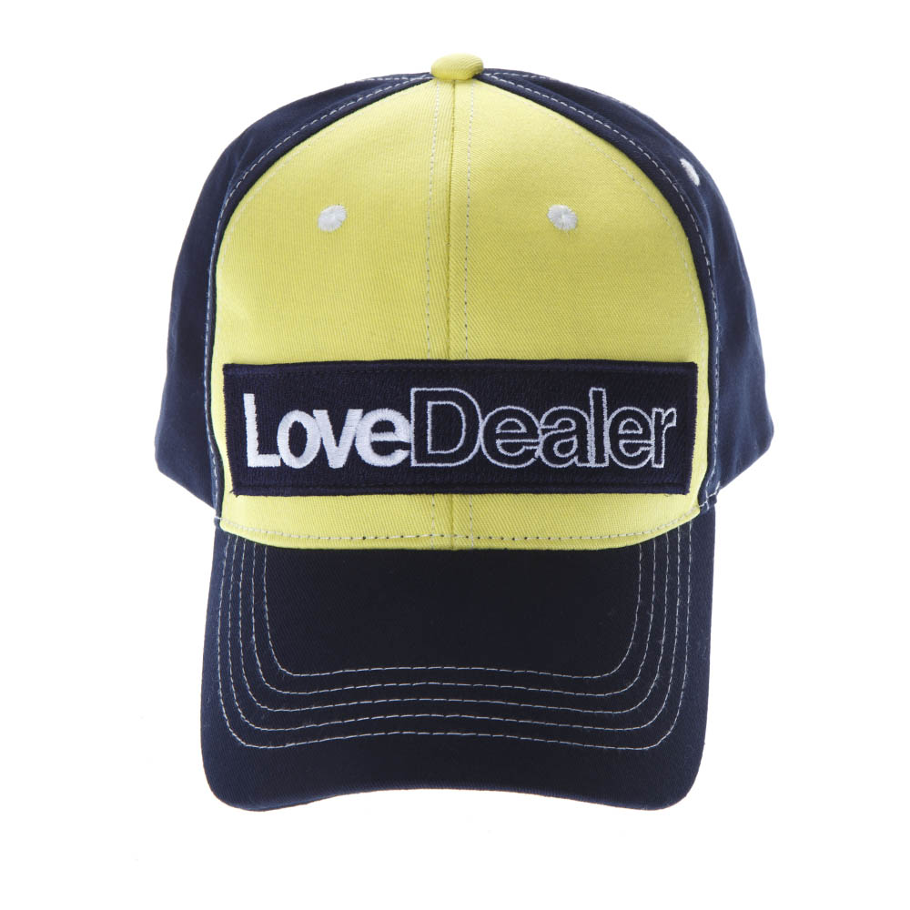 5dd28113d74 LOVE DEALER YELLOW   BLUE COTTON HAT SS19 - GOLDEN GOOSE DELUXE ...