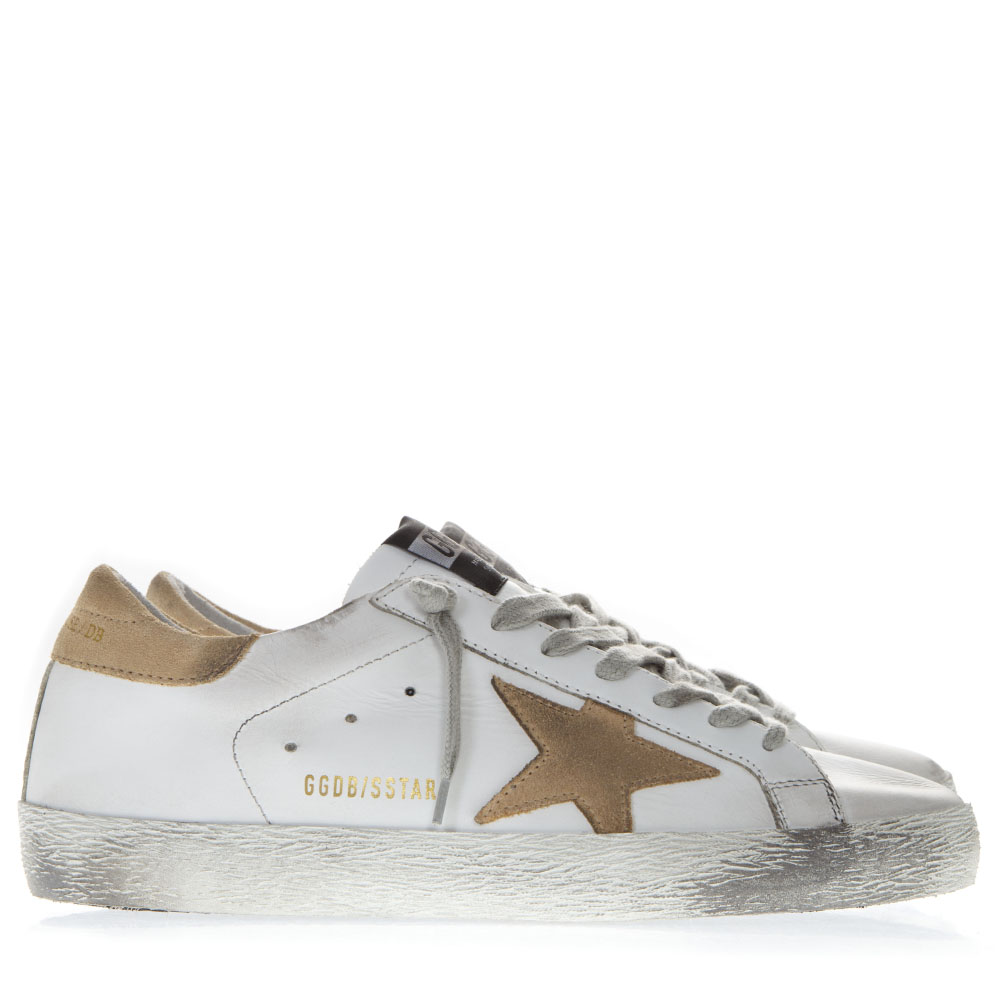 3618fac71496 WHITE LEATHER SUPERSTAR SNEAKERS WITH SAND SUEDE INSERTS SS19 - GOLDEN GOOSE  DELUXE BRAND - Boutique Galiano