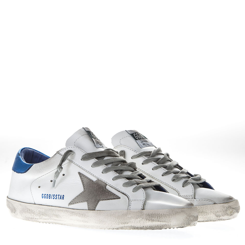 02375182a860 WHITE LEATHER SUPERSTAR SNEAKERS WITH BLUE AND GREY INSERTS. GOLDEN GOOSE  DELUXE BRAND
